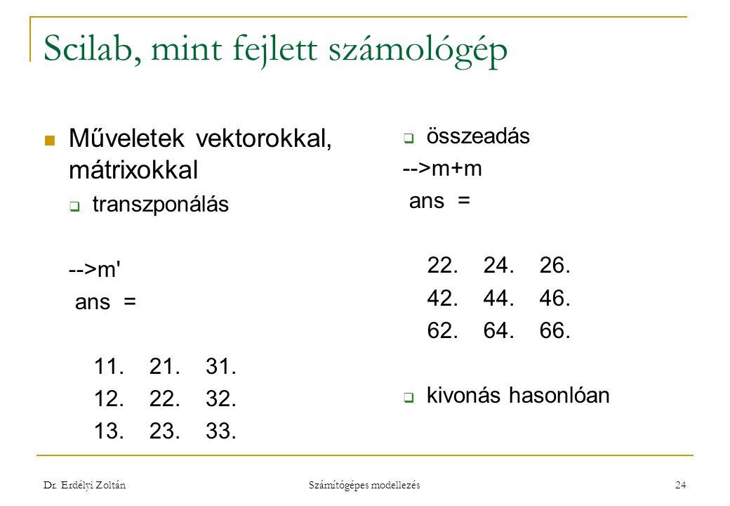 Scilab, mint fejlett számológép Műveletek vektorokkal, mátrixokkal  transzponálás -->m' ans = 11. 21. 31. 12. 22. 32. 13. 23. 33.  összeadás -->m+m