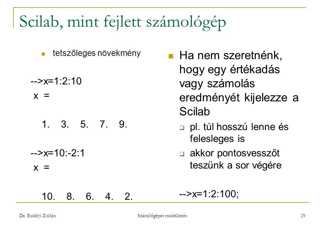 Scilab, mint fejlett számológép tetszőleges növekmény -->x=1:2:10 x = 1. 3. 5. 7. 9. -->x=10:-2:1 x = 10. 8. 6. 4. 2. Ha nem szeretnénk, hogy egy érté