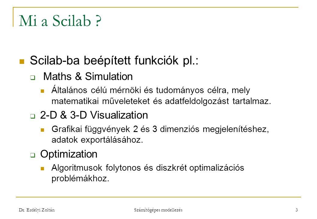 Mi a Scilab ? Scilab-ba beépített funkciók pl.:  Maths & Simulation Általános célú mérnöki és tudományos célra, mely matematikai műveleteket és adatf