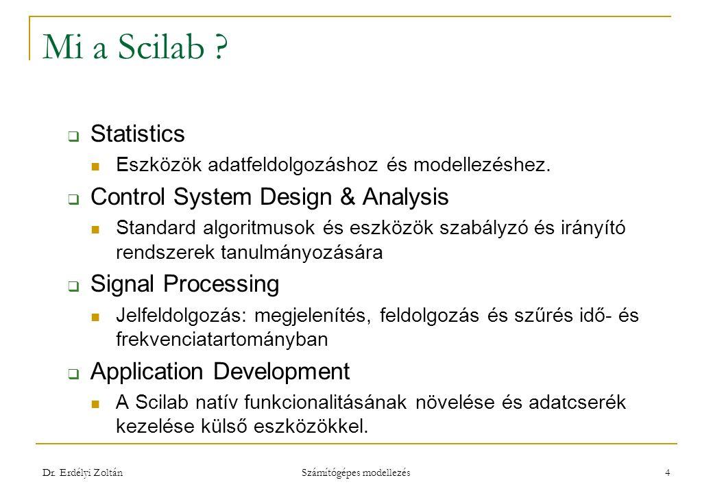 Mi a Scilab ?  Statistics Eszközök adatfeldolgozáshoz és modellezéshez.  Control System Design & Analysis Standard algoritmusok és eszközök szabályz