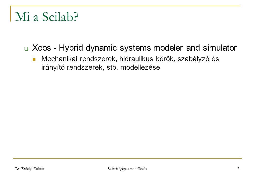 Mi a Scilab?  Xcos - Hybrid dynamic systems modeler and simulator Mechanikai rendszerek, hidraulikus körök, szabályzó és irányító rendszerek, stb. mo