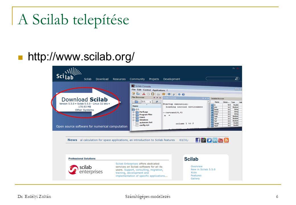 A Scilab telepítése http://www.scilab.org/ Dr. Erdélyi Zoltán Számítógépes modellezés 6