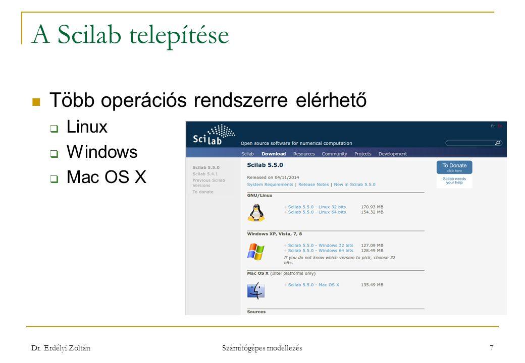 A Scilab telepítése Több operációs rendszerre elérhető  Linux  Windows  Mac OS X Dr. Erdélyi Zoltán Számítógépes modellezés 7