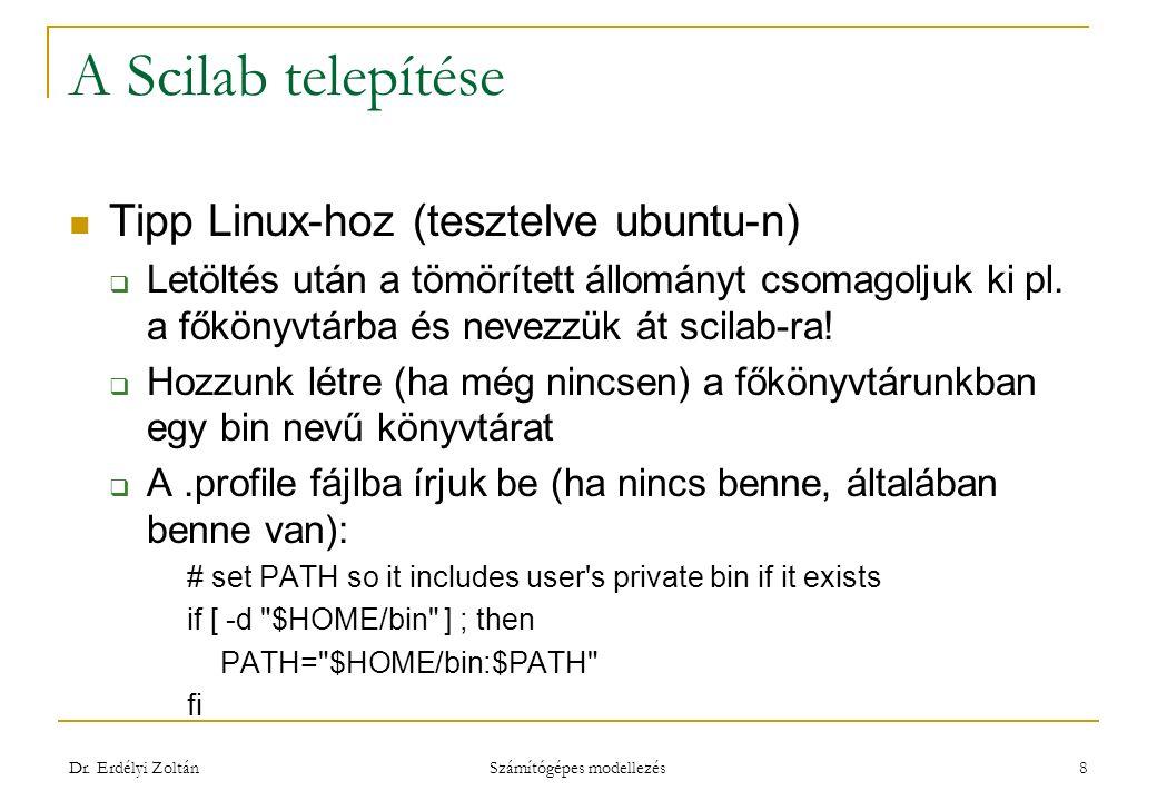 A Scilab telepítése  A bin könyvtárban hozzunk létre egy scilab nevű fájlt, melybe írjuk bele a következőt: ~/scilab/bin/scilab &  A léthrehozott scilab fájlt tegyük futtathatóvá, pl.