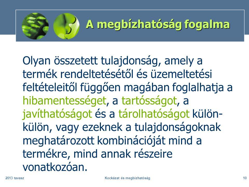 2013 tavaszKockázat és megbízhatóság10 A megbízhatóság fogalma Olyan összetett tulajdonság, amely a termék rendeltetésétől és üzemeltetési feltételeit