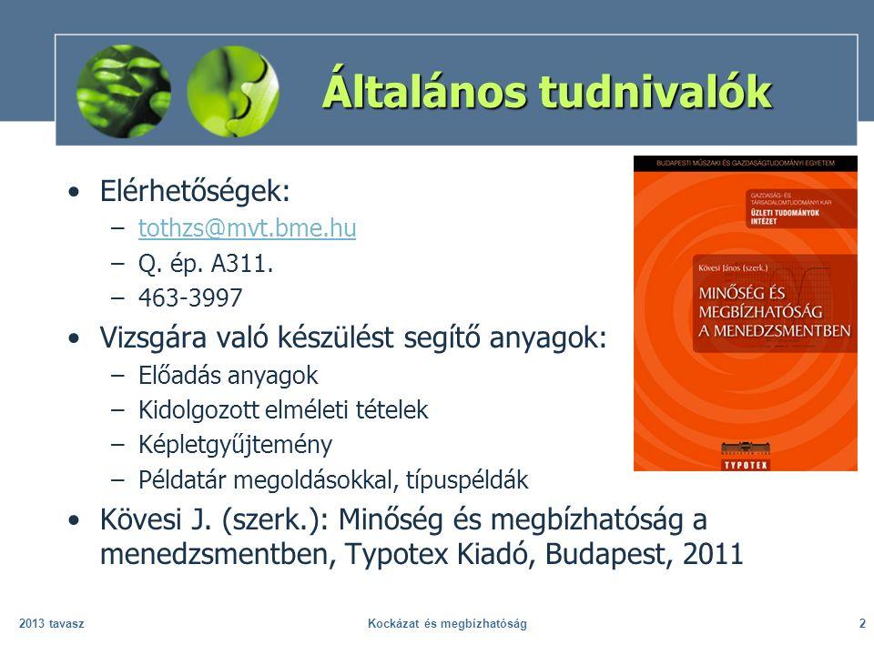 Általános tudnivalók Elérhetőségek: –tothzs@mvt.bme.hutothzs@mvt.bme.hu –Q. ép. A311. –463-3997 Vizsgára való készülést segítő anyagok: –Előadás anyag