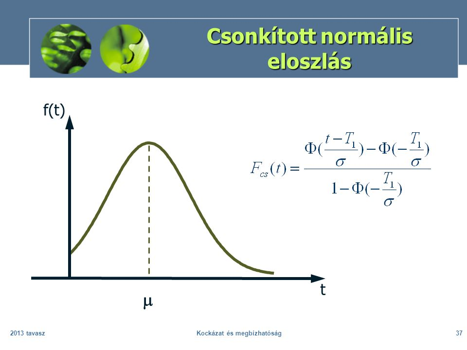 2013 tavaszKockázat és megbízhatóság37 Csonkított normális eloszlás  f(t) t