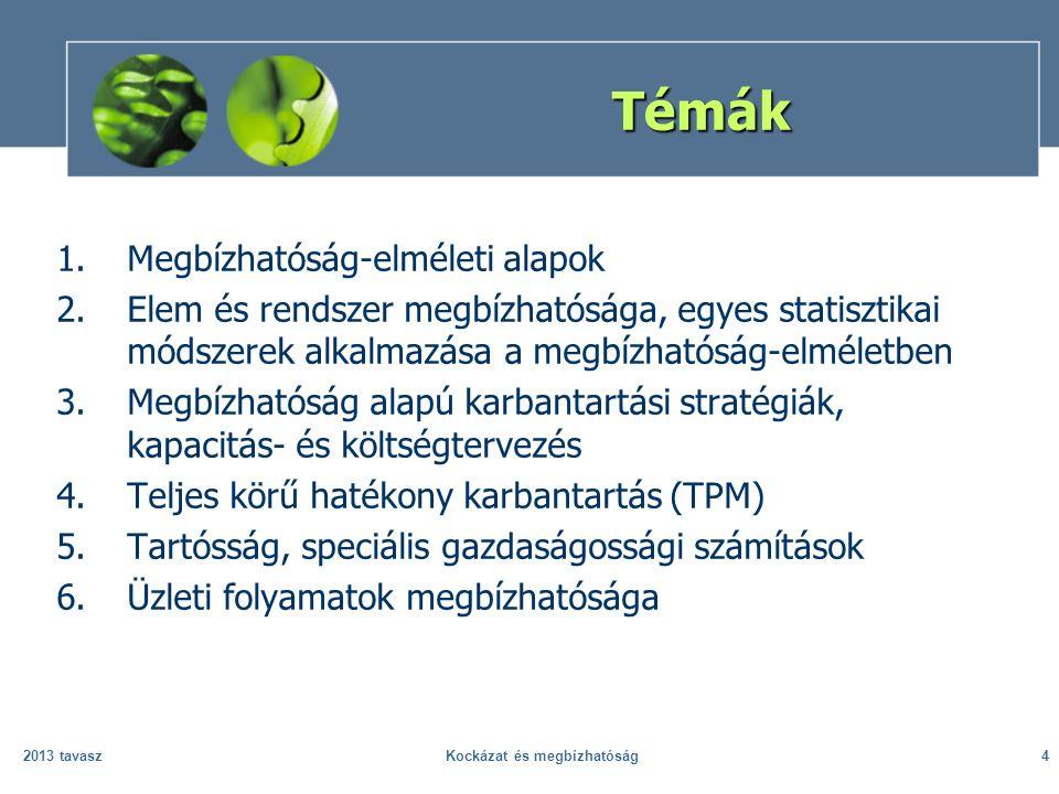2013 tavaszKockázat és megbízhatóság4 Témák 1.Megbízhatóság-elméleti alapok 2.Elem és rendszer megbízhatósága, egyes statisztikai módszerek alkalmazása a megbízhatóság-elméletben 3.Megbízhatóság alapú karbantartási stratégiák, kapacitás- és költségtervezés 4.Teljes körű hatékony karbantartás (TPM) 5.Tartósság, speciális gazdaságossági számítások 6.Üzleti folyamatok megbízhatósága