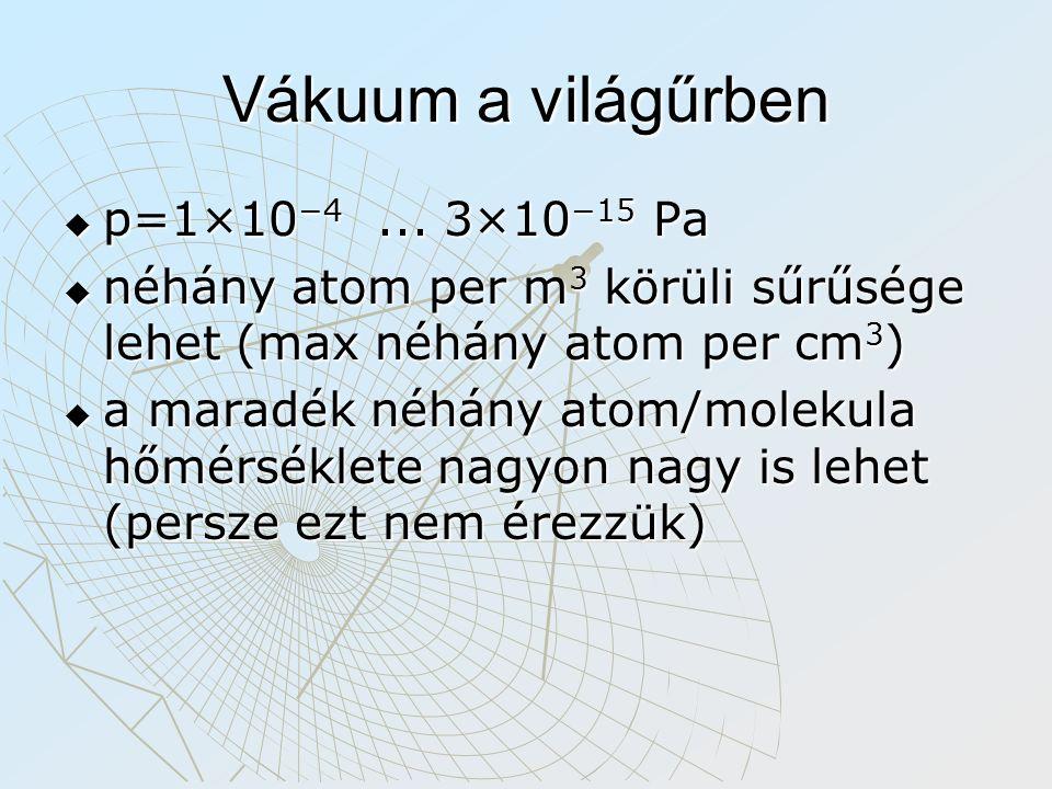Vákuum a világűrben  p=1×10 −4... 3×10 −15 Pa  néhány atom per m 3 körüli sűrűsége lehet (max néhány atom per cm 3 )  a maradék néhány atom/molekul