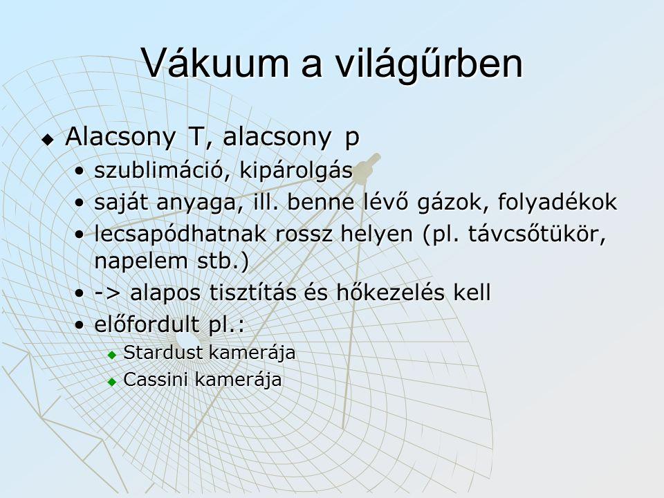 Vákuum a világűrben  Alacsony T, alacsony p szublimáció, kipárolgásszublimáció, kipárolgás saját anyaga, ill.