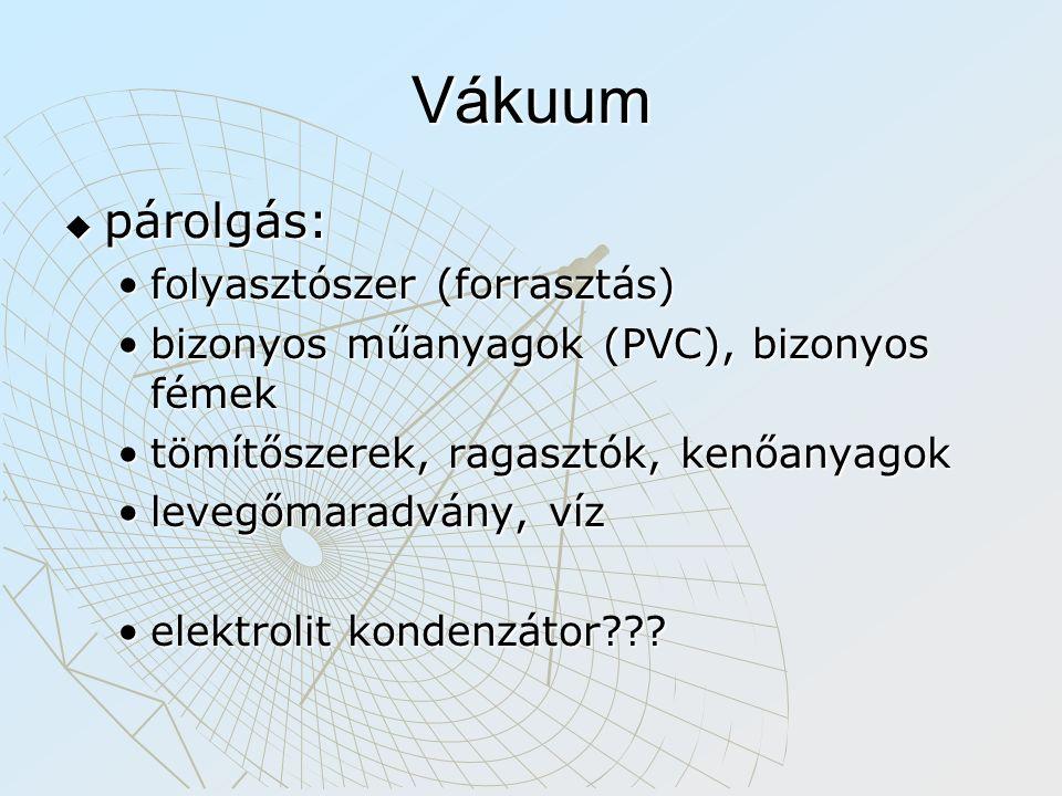 Vákuum  párolgás: folyasztószer (forrasztás)folyasztószer (forrasztás) bizonyos műanyagok (PVC), bizonyos fémekbizonyos műanyagok (PVC), bizonyos fém