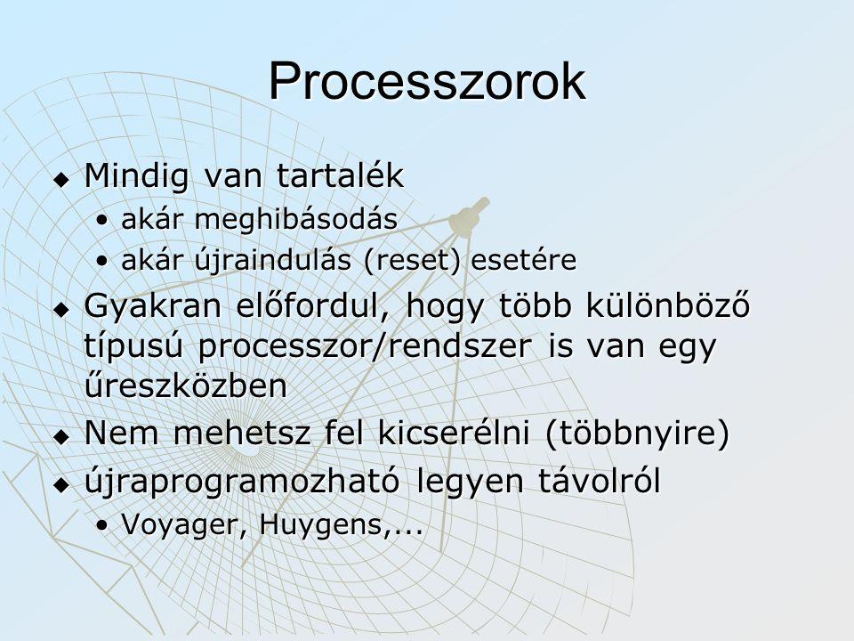 Processzorok  Mindig van tartalék akár meghibásodásakár meghibásodás akár újraindulás (reset) esetéreakár újraindulás (reset) esetére  Gyakran előfordul, hogy több különböző típusú processzor/rendszer is van egy űreszközben  Nem mehetsz fel kicserélni (többnyire)  újraprogramozható legyen távolról Voyager, Huygens,...Voyager, Huygens,...