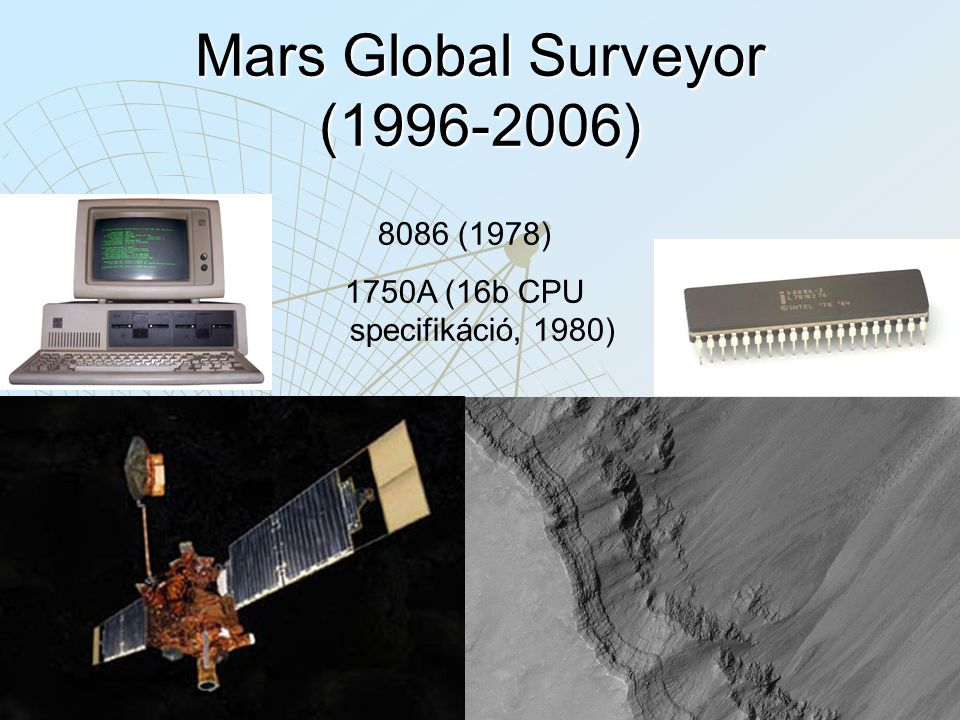 Mars Global Surveyor (1996-2006) 8086 (1978) 1750A (16b CPU specifikáció, 1980)