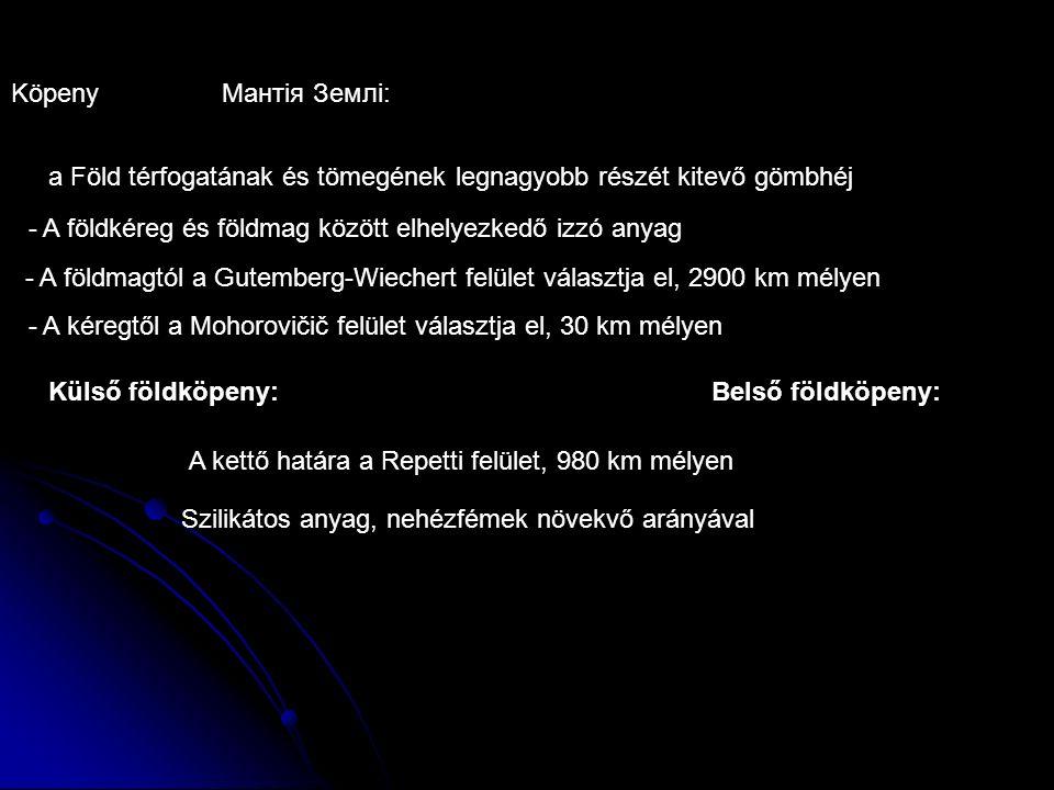 Belső földköpeny: KöpenyМантія Землі: - A földkéreg és földmag között elhelyezkedő izzó anyag - A földmagtól a Gutemberg-Wiechert felület választja el, 2900 km mélyen - A kéregtől a Mohorovičič felület választja el, 30 km mélyen Külső földköpeny: A kettő határa a Repetti felület, 980 km mélyen a Föld térfogatának és tömegének legnagyobb részét kitevő gömbhéj Szilikátos anyag, nehézfémek növekvő arányával