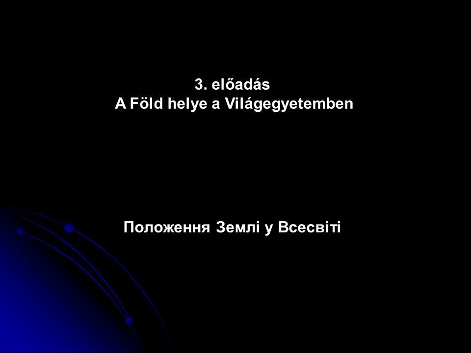 Az anyagi világ hierarchiája Galaxisok, naprendszerek, bolygók, kőzetek, ásványok, atomok, elemi részecskék, kvarkok nagyszámú csillagból és egyéb égitestből álló, gravitáció által összetartott rendszer гігантська, гравітаційно-зв язана система із зірок і зоряни скупчень, міжзоряного газу і пилу, і темної матерії ahol a Nap gravitációs tere dominál (kb.