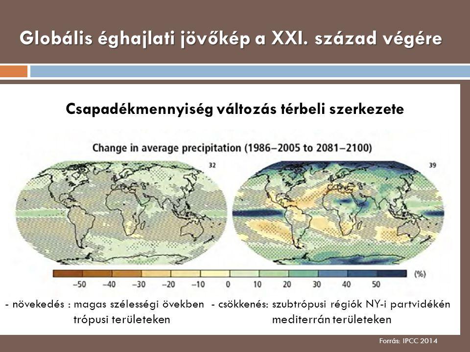 Globális éghajlati jövőkép a XXI. század végére Forrás: IPCC 2014 Csapadékmennyiség változás térbeli szerkezete - növekedés : magas szélességi övekben