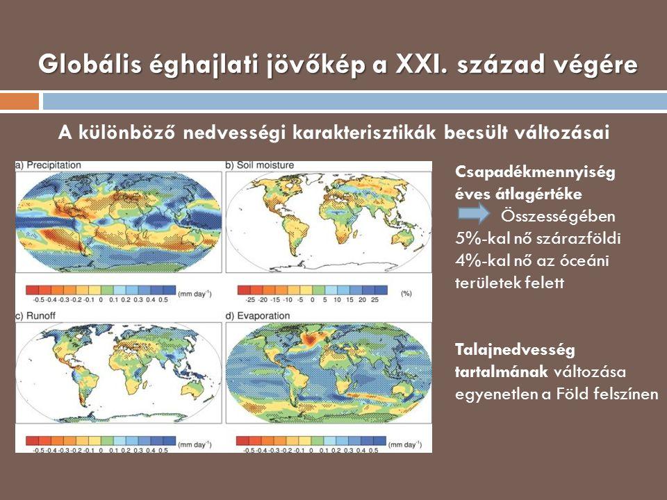 Globális éghajlati jövőkép a XXI. század végére A különböző nedvességi karakterisztikák becsült változásai Csapadékmennyiség éves átlagértéke Összessé