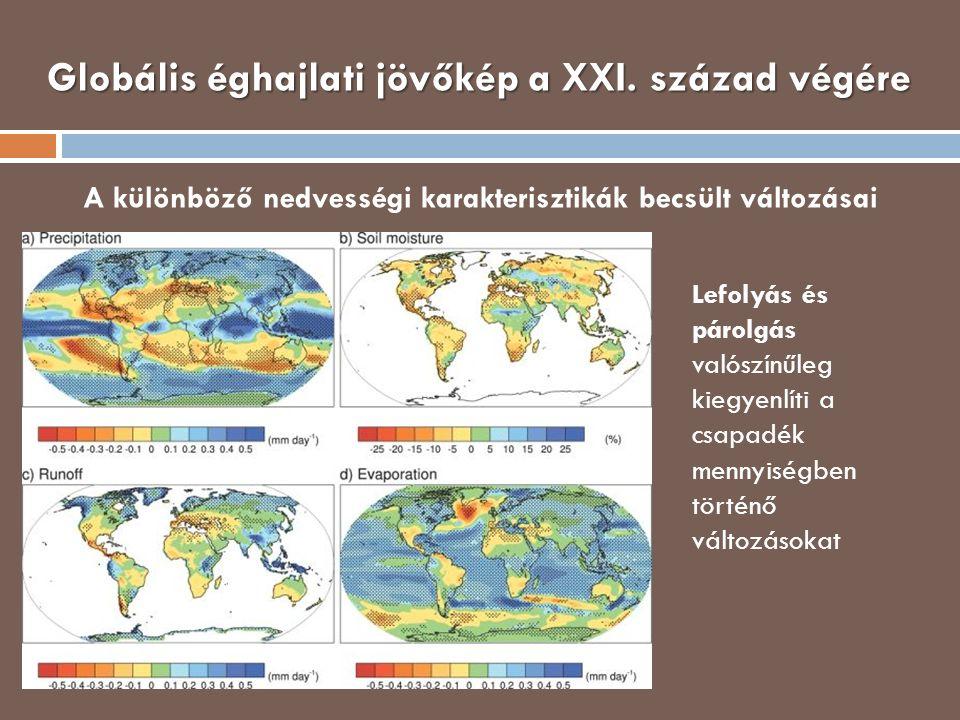 Globális éghajlati jövőkép a XXI. század végére A különböző nedvességi karakterisztikák becsült változásai Lefolyás és párolgás valószínűleg kiegyenlí