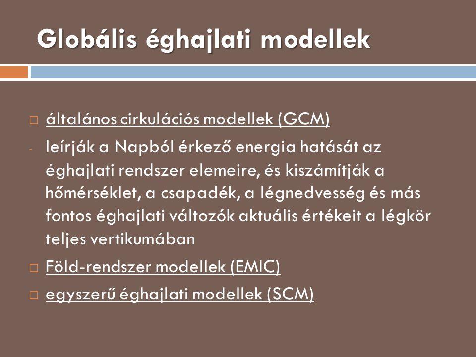 Globális éghajlati modellek  általános cirkulációs modellek (GCM) - leírják a Napból érkező energia hatását az éghajlati rendszer elemeire, és kiszám