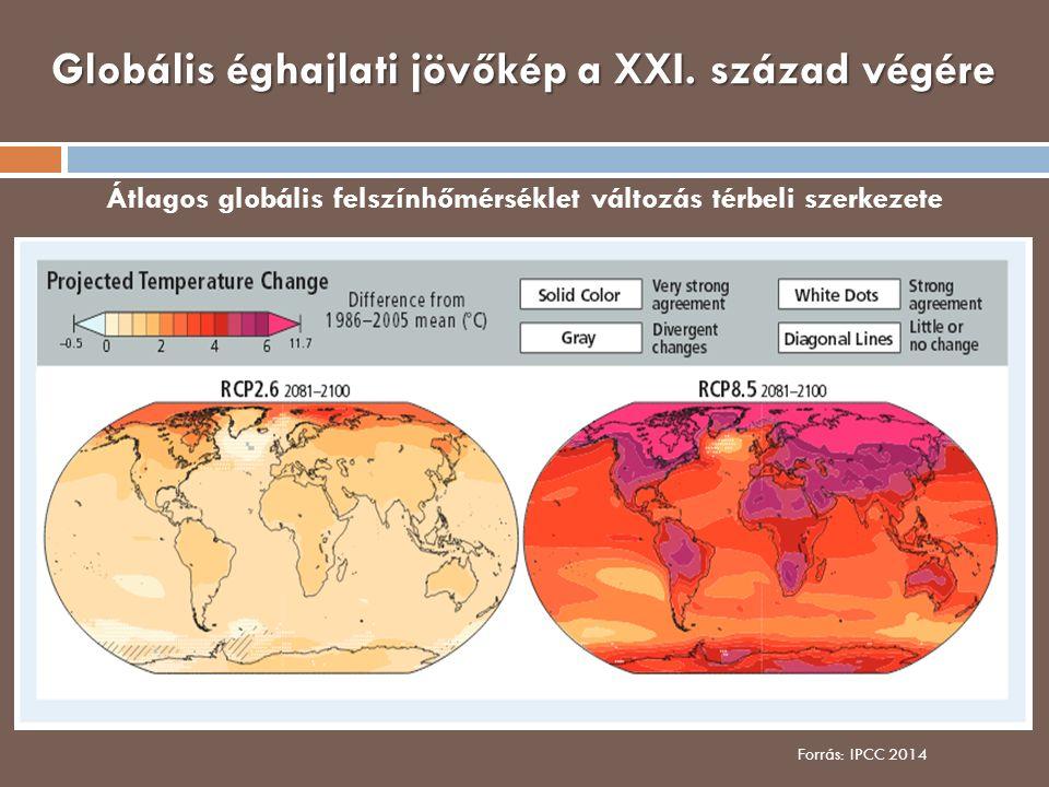 Globális éghajlati jövőkép a XXI. század végére Átlagos globális felszínhőmérséklet változás térbeli szerkezete Forrás: IPCC 2014