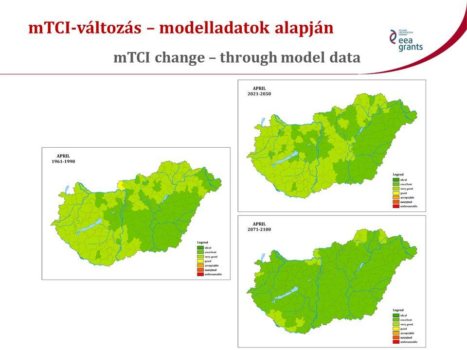 mTCI-változás – modelladatok alapján mTCI change – through model data