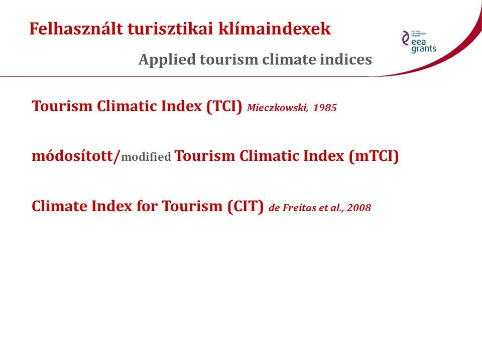 Tourism Climatic Index (TCI) Mieczkowski, 1985 Havi átlaga: Monthly average: CI d – nappali komfort index (T max és RH min ) Daytime comfort index (T max and RH min ) CI a – napi komfort index (T átlag és RH átlag ) Daily comfort index (T mean and RH mean ) R – napi csapadékösszeg Daily precipitation amount S – napfénytartam napi összege Daily sum of sunshine duration W – szélsebesség napi átlaga Daily mean of wind speed Értékelő pontrendszerek (0–5) minden tényezőre Rating score systems (0–5) for every sub-index TCI = 8CI d + 2CI a + 4R + 4S + 2W