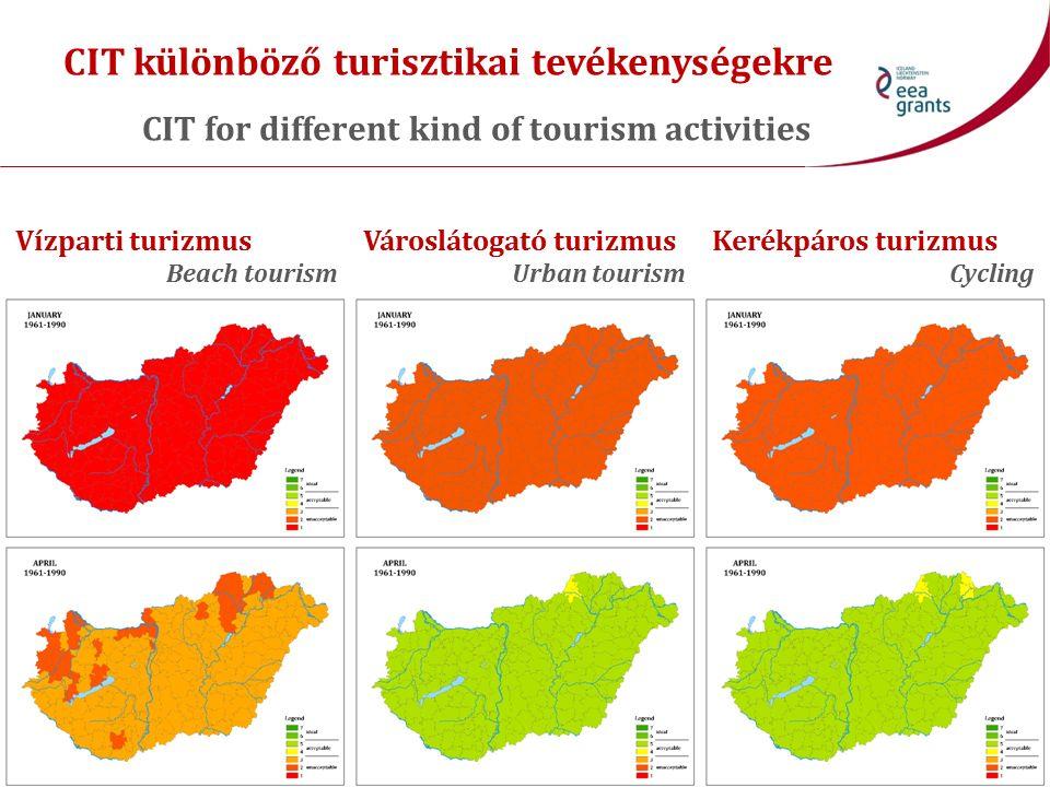 CIT különböző turisztikai tevékenységekre CIT for different kind of tourism activities Vízparti turizmus Beach tourism Városlátogató turizmus Urban tourism Kerékpáros turizmus Cycling