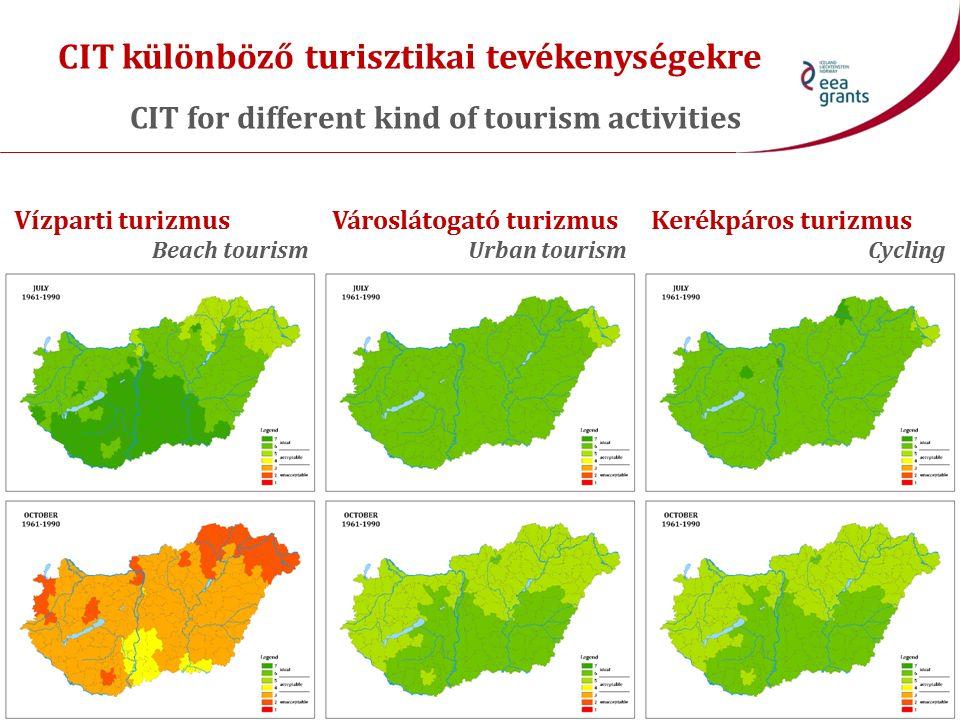 CIT különböző turisztikai tevékenységekre CIT for different kind of tourism activities Vízparti turizmus Beach tourism Városlátogató turizmus Urban to