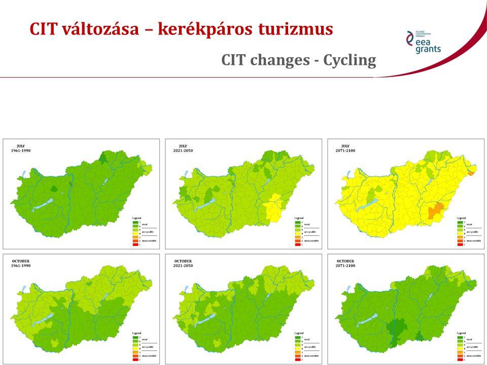 CIT változása – kerékpáros turizmus CIT changes - Cycling