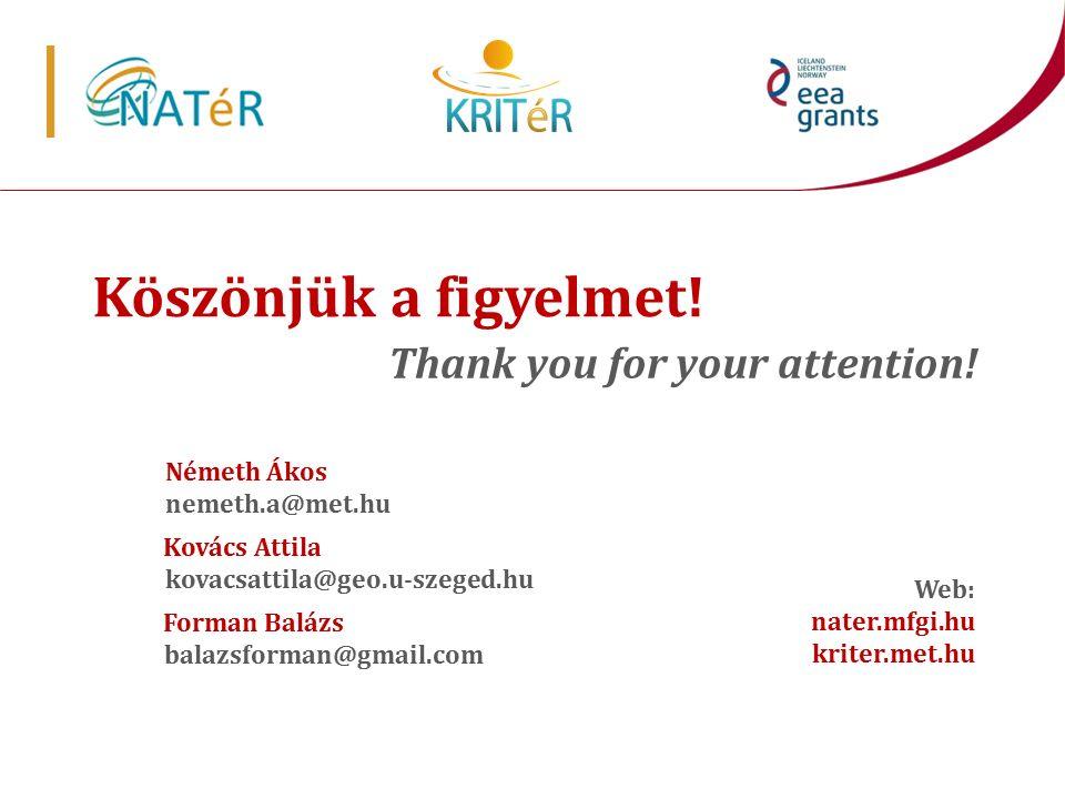 Köszönjük a figyelmet! Thank you for your attention! Web: nater.mfgi.hu kriter.met.hu Németh Ákos nemeth.a@met.hu Kovács Attila kovacsattila@geo.u-sze