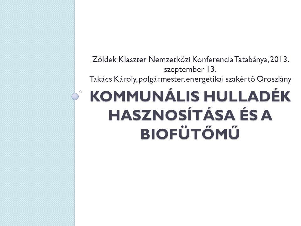KOMMUNÁLIS HULLADÉK HASZNOSÍTÁSA ÉS A BIOFÜTŐMŰ Zöldek Klaszter Nemzetközi Konferencia Tatabánya, 2013.