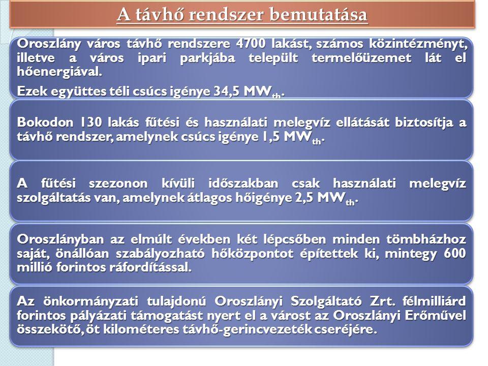 A távhő rendszer bemutatása Oroszlány város távhő rendszere 4700 lakást, számos közintézményt, illetve a város ipari parkjába települt termelőüzemet lát el hőenergiával.