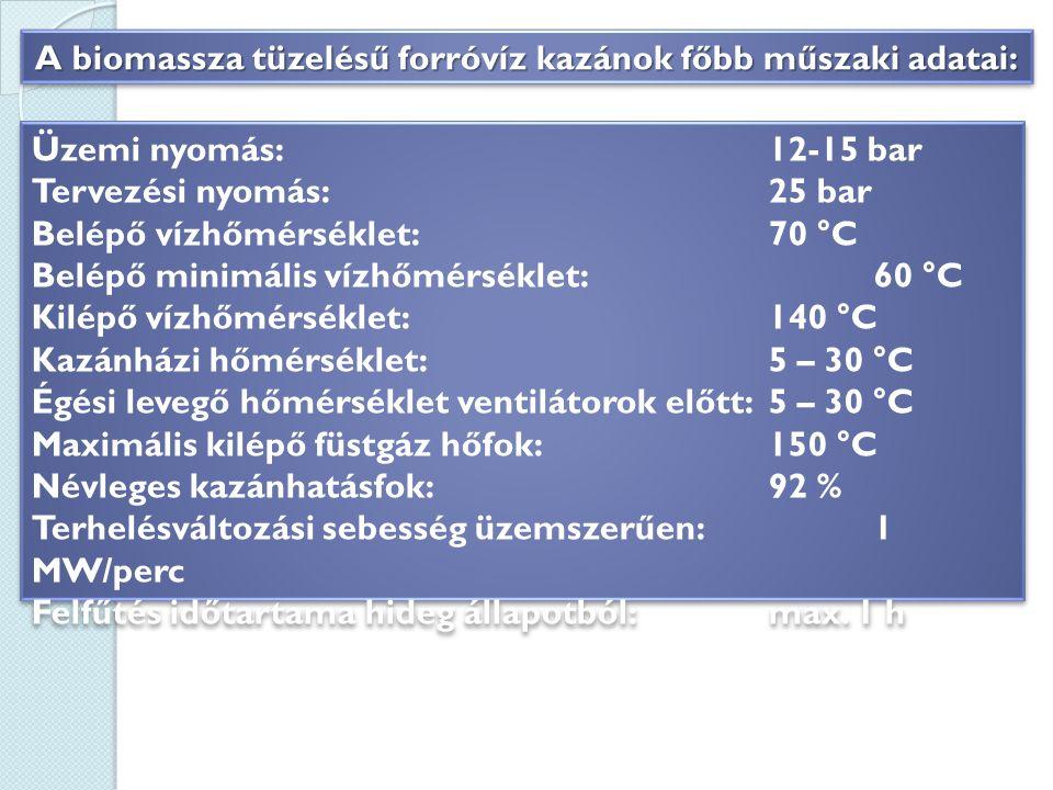 Üzemi nyomás: 12-15 bar Tervezési nyomás: 25 bar Belépő vízhőmérséklet: 70 °C Belépő minimális vízhőmérséklet: 60 °C Kilépő vízhőmérséklet: 140 °C Kazánházi hőmérséklet: 5 – 30 °C Égési levegő hőmérséklet ventilátorok előtt: 5 – 30 °C Maximális kilépő füstgáz hőfok: 150 °C Névleges kazánhatásfok: 92 % Terhelésváltozási sebesség üzemszerűen: 1 MW/perc Felfűtés időtartama hideg állapotból:max.
