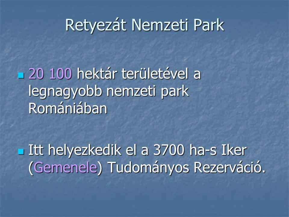 Retyezát Nemzeti Park 20 100 hektár területével a legnagyobb nemzeti park Romániában 20 100 hektár területével a legnagyobb nemzeti park Romániában Itt helyezkedik el a 3700 ha-s Iker (Gemenele) Tudományos Rezerváció.