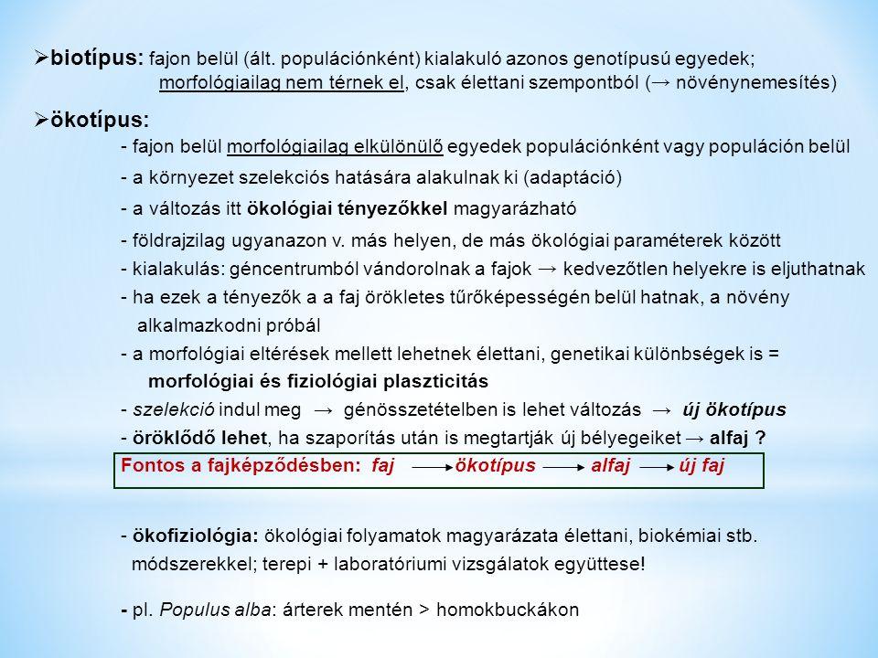  biotípus: fajon belül (ált.