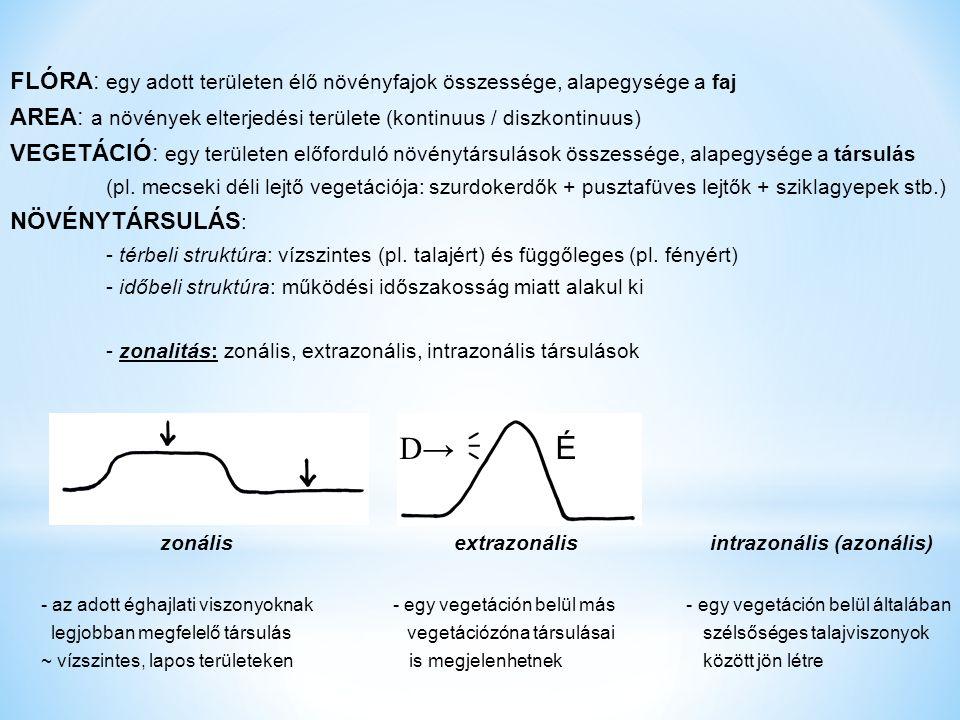 FLÓRA: egy adott területen élő növényfajok összessége, alapegysége a faj AREA: a növények elterjedési területe (kontinuus / diszkontinuus) VEGETÁCIÓ: egy területen előforduló növénytársulások összessége, alapegysége a társulás (pl.