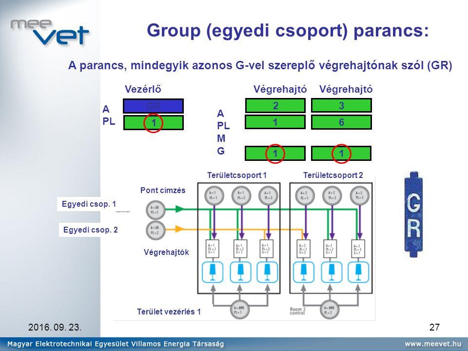 2016. 09. 23.27 Group (egyedi csoport) parancs: A PL VezérlőVégrehajtó A PL M G 2 1 1 GR Végrehajtó 3 6 11 A parancs, mindegyik azonos G-vel szereplő