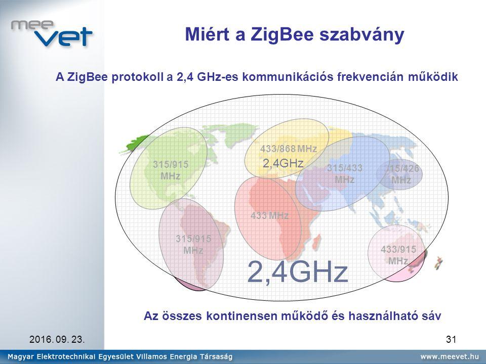 2016. 09. 23.31 Miért a ZigBee szabvány A ZigBee protokoll a 2,4 GHz-es kommunikációs frekvencián működik Az összes kontinensen működő és használható