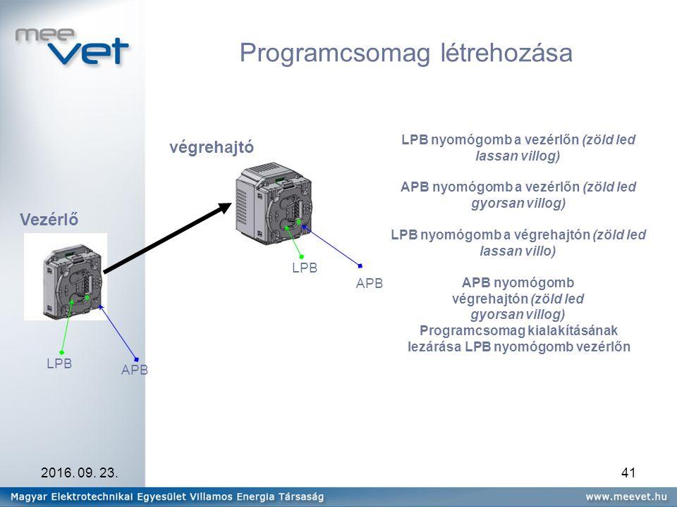 2016. 09. 23.41 Programcsomag létrehozása LPB Vezérlő végrehajtó LPB nyomógomb a vezérlőn (zöld led lassan villog) APB nyomógomb a vezérlőn (zöld led