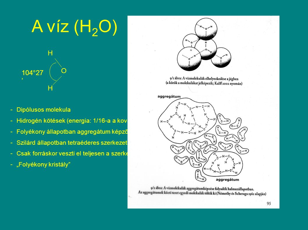 """A víz (H 2 O) H H O 104°27 ' -Dipólusos molekula -Hidrogén kötések (energia: 1/16-a a kovalens kötésnek) -Folyékony állapotban aggregátum képződés -Szilárd állapotban tetraéderes szerkezet -Csak forráskor veszti el teljesen a szerkezetét -""""Folyékony kristály"""
