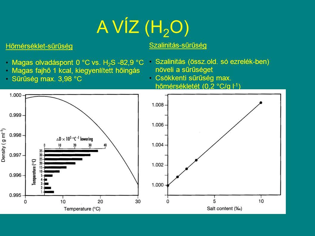 A VÍZ (H 2 O) Hőmérséklet-sűrűség Magas olvadáspont 0 °C vs. H 2 S -82,9 °C Magas fajhő 1 kcal, kiegyenlített hőingás Sűrűség max. 3,98 °C Szalinitás-
