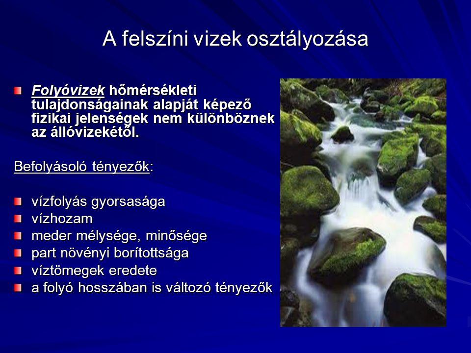 A felszíni vizek osztályozása Folyóvizek hőmérsékleti tulajdonságainak alapját képező fizikai jelenségek nem különböznek az állóvizekétől. Befolyásoló