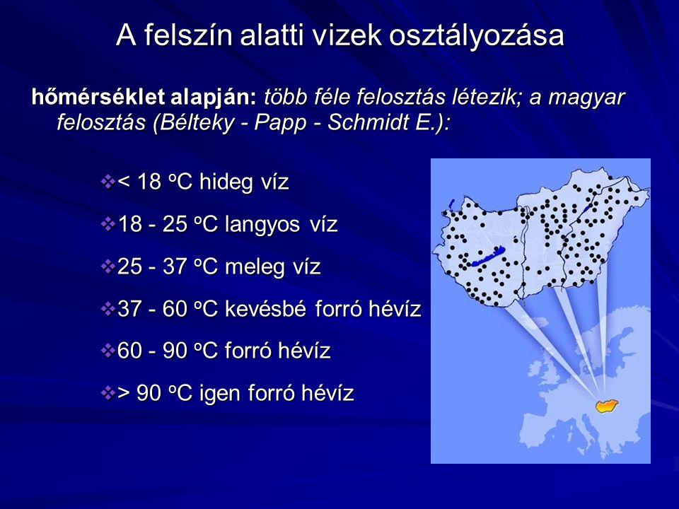 A felszín alatti vizek osztályozása hőmérséklet alapján: több féle felosztás létezik; a magyar felosztás (Bélteky - Papp - Schmidt E.):  < 18 o C hideg víz  18 - 25 o C langyos víz  25 - 37 o C meleg víz  37 - 60 o C kevésbé forró hévíz  60 - 90 o C forró hévíz  > 90 o C igen forró hévíz