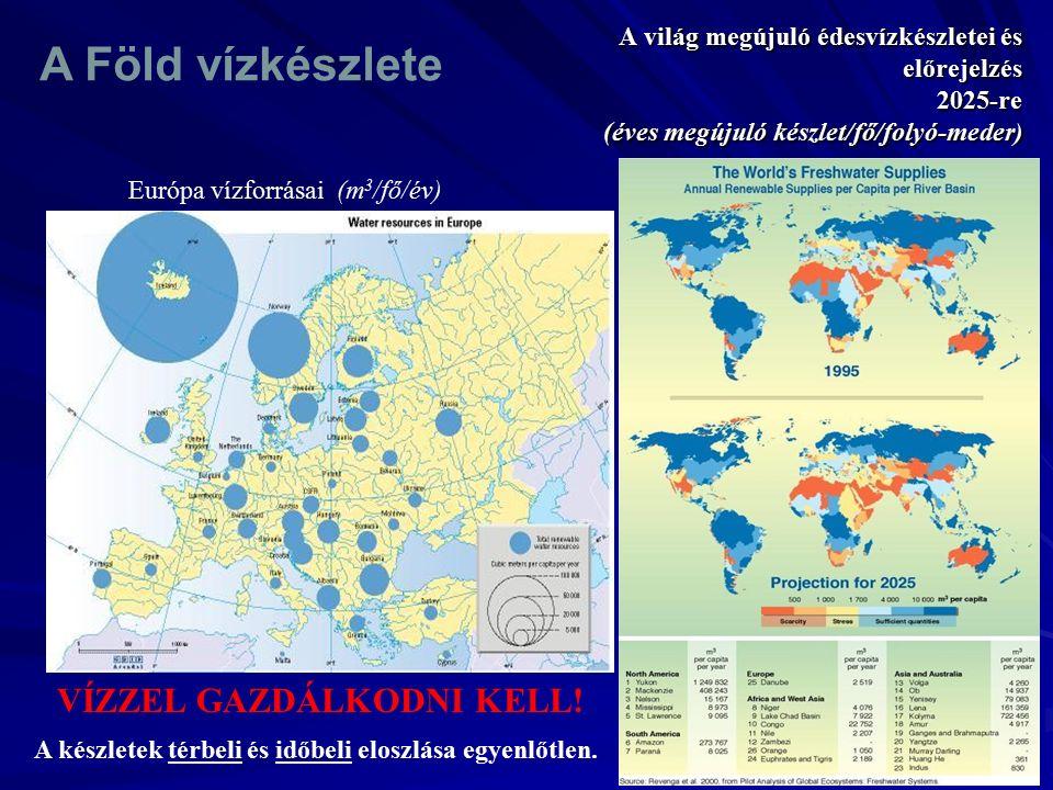 A világ megújuló édesvízkészletei és előrejelzés 2025-re (éves megújuló készlet/fő/folyó-meder ) Európa vízforrásai (m 3 /fő/év) A készletek térbeli é