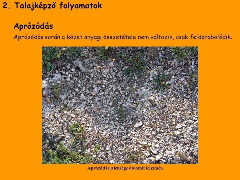 2. Talajképző folyamatok Aprózódás Aprózódás során a kőzet anyagi összetétele nem változik, csak feldarabolódik. Aprózódás jelensége dolomit felszínén