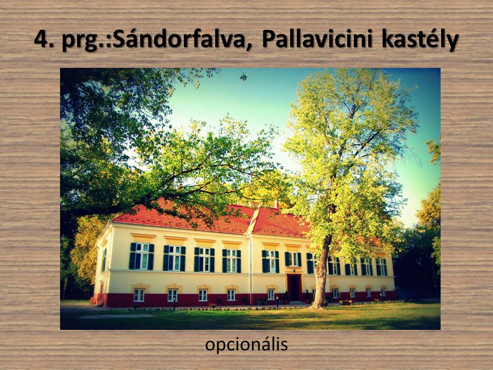 4. prg.:Sándorfalva, Pallavicini kastély opcionális