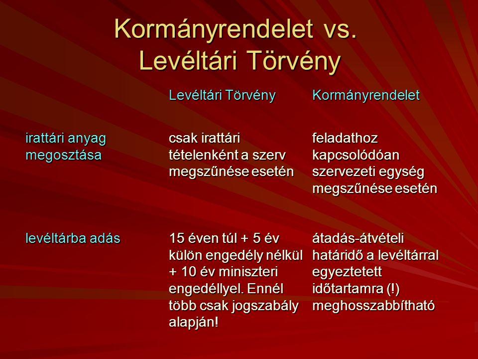 Kormányrendelet vs. Levéltári Törvény Levéltári Törvény Kormányrendelet irattári anyag megosztása csak irattári tételenként a szerv megszűnése esetén
