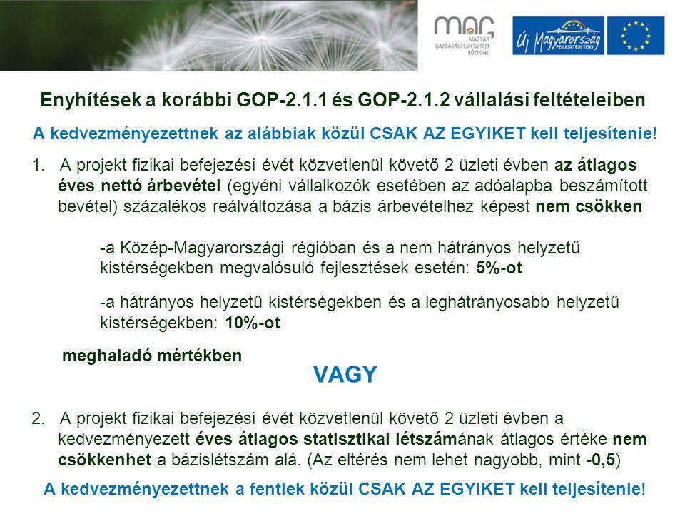Enyhítések a korábbi GOP-2.1.1 és GOP-2.1.2 vállalási feltételeiben A kedvezményezettnek az alábbiak közül CSAK AZ EGYIKET kell teljesítenie! 1. A pro