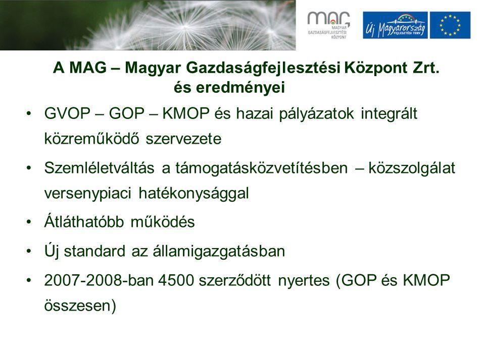 A MAG – Magyar Gazdaságfejlesztési Központ Zrt. és eredményei GVOP – GOP – KMOP és hazai pályázatok integrált közreműködő szervezete Szemléletváltás a