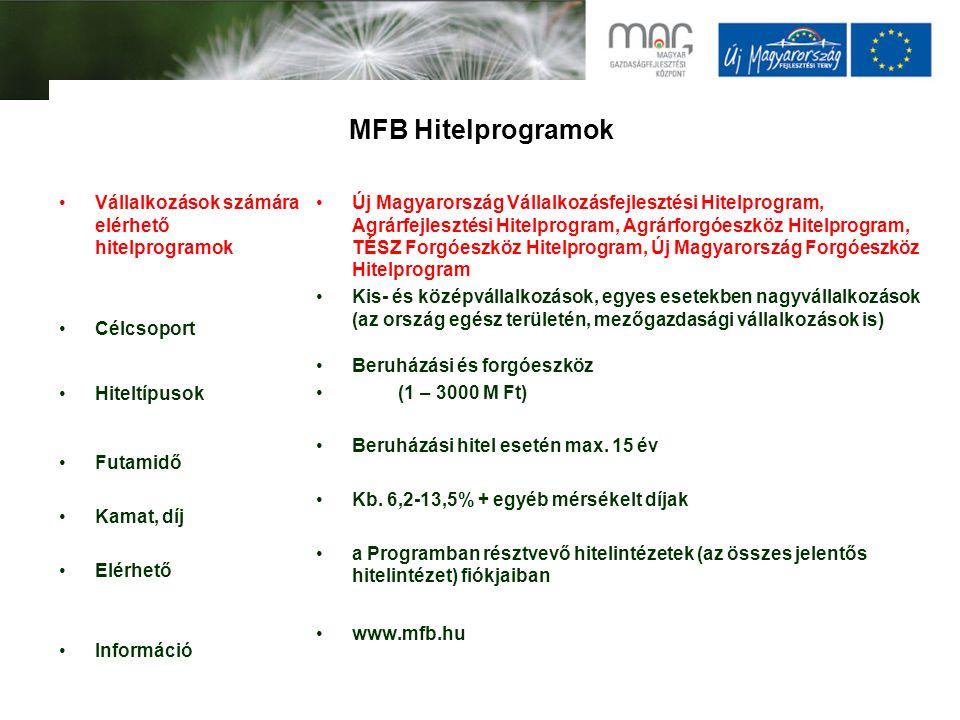MFB Hitelprogramok Vállalkozások számára elérhető hitelprogramok Célcsoport Hiteltípusok Futamidő Kamat, díj Elérhető Információ Új Magyarország Válla